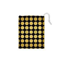 CIR1 BK MARBLE GOLD Drawstring Pouches (XS)