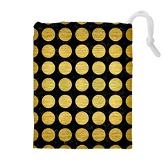 Circles1 Black Marble & Gold Brushed Metal Drawstring Pouch (xl)