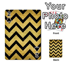 Chevron9 Black Marble & Gold Brushed Metal (r) Playing Cards 54 Designs