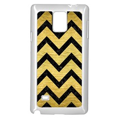 Chevron9 Black Marble & Gold Brushed Metal (r) Samsung Galaxy Note 4 Case (white)