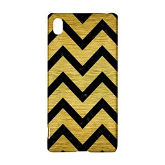 Chevron9 Black Marble & Gold Brushed Metal (r) Sony Xperia Z3+ Hardshell Case