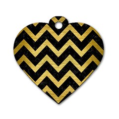 Chevron9 Black Marble & Gold Brushed Metal Dog Tag Heart (one Side)