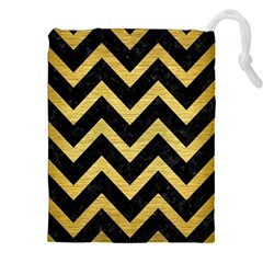 Chevron9 Black Marble & Gold Brushed Metal Drawstring Pouch (xxl)