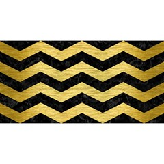 Chevron3 Black Marble & Gold Brushed Metal You Are Invited 3d Greeting Card (8x4)