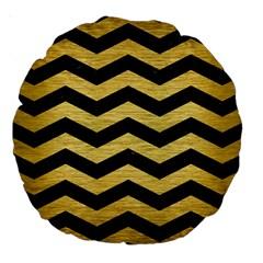 Chevron3 Black Marble & Gold Brushed Metal Large 18  Premium Round Cushion
