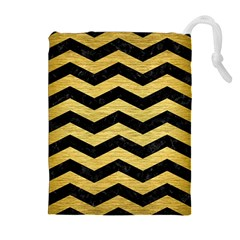 Chevron3 Black Marble & Gold Brushed Metal Drawstring Pouch (xl)