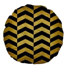 Chevron2 Black Marble & Gold Brushed Metal Large 18  Premium Round Cushion