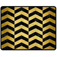 Chevron2 Black Marble & Gold Brushed Metal Double Sided Fleece Blanket (medium)