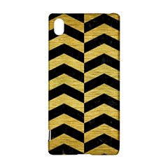 Chevron2 Black Marble & Gold Brushed Metal Sony Xperia Z3+ Hardshell Case