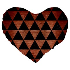 Triangle3 Black Marble & Copper Brushed Metal Large 19  Premium Flano Heart Shape Cushion