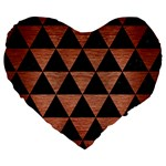 TRIANGLE3 BLACK MARBLE & COPPER BRUSHED METAL Large 19  Premium Flano Heart Shape Cushion Front