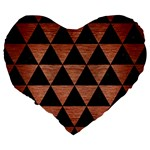 TRIANGLE3 BLACK MARBLE & COPPER BRUSHED METAL Large 19  Premium Flano Heart Shape Cushion Back