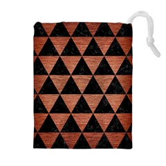 Triangle3 Black Marble & Copper Brushed Metal Drawstring Pouch (xl)