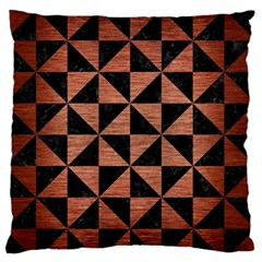 Triangle1 Black Marble & Copper Brushed Metal Standard Flano Cushion Case (one Side)