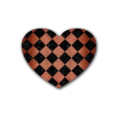 Square2 Black Marble & Copper Brushed Metal Rubber Coaster (heart)