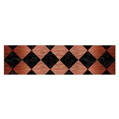 Square2 Black Marble & Copper Brushed Metal Satin Scarf (oblong)