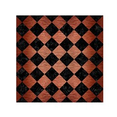 Square2 Black Marble & Copper Brushed Metal Small Satin Scarf (square)