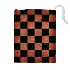 SQR1 BK MARBLE COPPER Drawstring Pouches (Extra Large)
