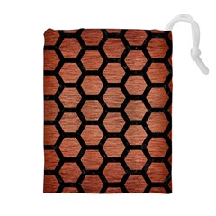HXG2 BK MARBLE COPPER (R) Drawstring Pouches (Extra Large)
