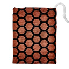 Hexagon2 Black Marble & Copper Brushed Metal (r) Drawstring Pouch (xxl)