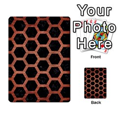 Hexagon2 Black Marble & Copper Brushed Metal Multi Purpose Cards (rectangle)