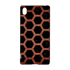 Hexagon2 Black Marble & Copper Brushed Metal Sony Xperia Z3+ Hardshell Case