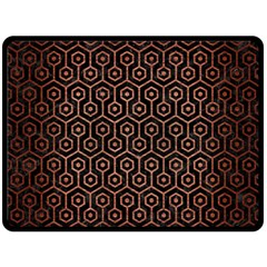 Hexagon1 Black Marble & Copper Brushed Metal Double Sided Fleece Blanket (large)