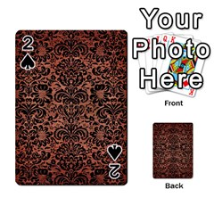 Damask2 Black Marble & Copper Brushed Metal (r) Playing Cards 54 Designs