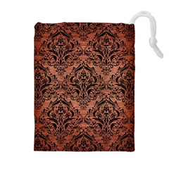 Damask1 Black Marble & Copper Brushed Metal (r) Drawstring Pouch (xl)
