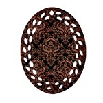 DAMASK1 BLACK MARBLE & COPPER BRUSHED METAL Ornament (Oval Filigree) Front