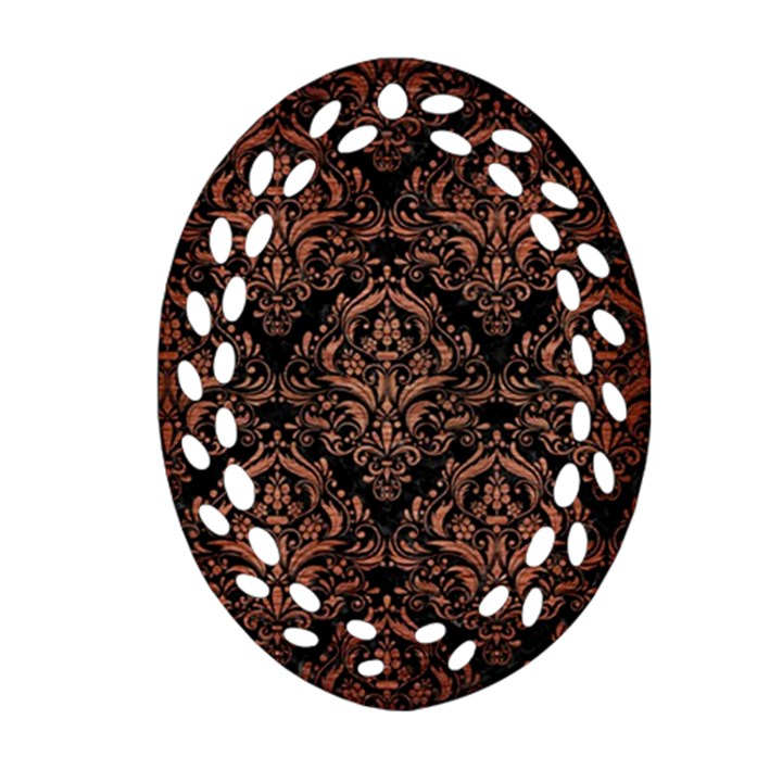 DAMASK1 BLACK MARBLE & COPPER BRUSHED METAL Ornament (Oval Filigree)