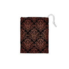 Damask1 Black Marble & Copper Brushed Metal Drawstring Pouch (xs)