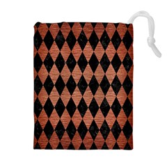 DIA1 BK MARBLE COPPER Drawstring Pouches (Extra Large)