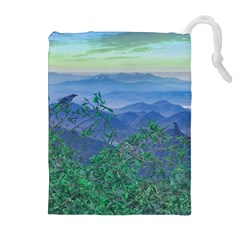 Fantasy Landscape Photo Collage Drawstring Pouches (Extra Large)
