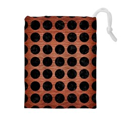 Circles1 Black Marble & Copper Brushed Metal (r) Drawstring Pouch (xl)