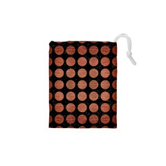 Circles1 Black Marble & Copper Brushed Metal Drawstring Pouch (xs)