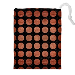 Circles1 Black Marble & Copper Brushed Metal Drawstring Pouch (xxl)
