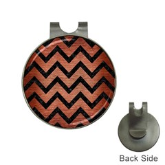 Chevron9 Black Marble & Copper Brushed Metal (r) Golf Ball Marker Hat Clip
