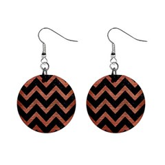 Chevron9 Black Marble & Copper Brushed Metal 1  Button Earrings
