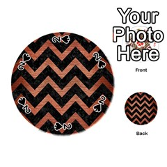 Chevron9 Black Marble & Copper Brushed Metal Playing Cards 54 (round)