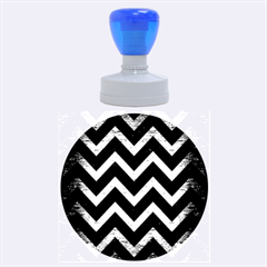 Chevron9 Black Marble & Copper Brushed Metal Rubber Stamp Round (large)