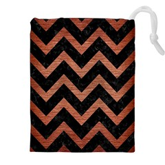 Chevron9 Black Marble & Copper Brushed Metal Drawstring Pouch (xxl)