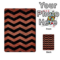 Chevron3 Black Marble & Copper Brushed Metal Multi Purpose Cards (rectangle)