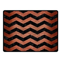 Chevron3 Black Marble & Copper Brushed Metal Double Sided Fleece Blanket (small)