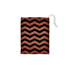 Chevron3 Black Marble & Copper Brushed Metal Drawstring Pouch (xs)
