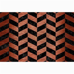 Chevron1 Black Marble & Copper Brushed Metal Collage 12  X 18
