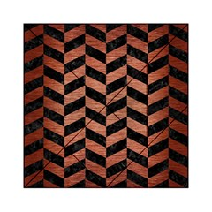 Chevron1 Black Marble & Copper Brushed Metal Acrylic Tangram Puzzle (6  X 6 )