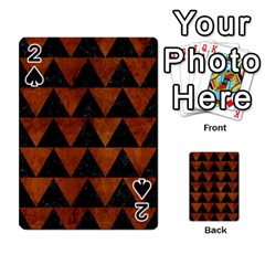 Triangle2 Black Marble & Brown Burl Wood Playing Cards 54 Designs
