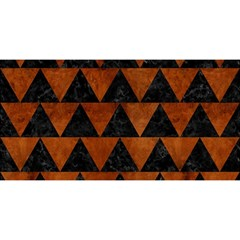 Triangle2 Black Marble & Brown Burl Wood You Are Invited 3d Greeting Card (8x4)