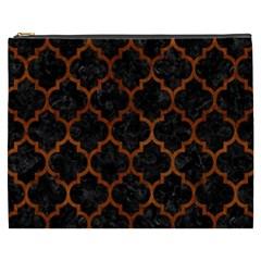 Tile1 Black Marble & Brown Burl Wood Cosmetic Bag (xxxl)